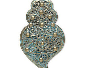 Focal Pendant, Antiqued Gold, Green Patina, Swirl with Flower Design,40x25mm, 2 each, D1079