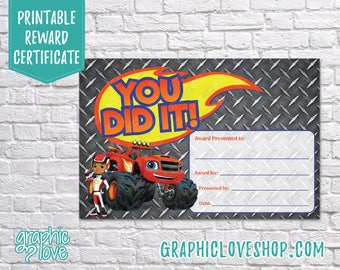 Printable 4x6 Blaze and AJ, You Did It Award Certificate | Digital JPG File, Instant Download