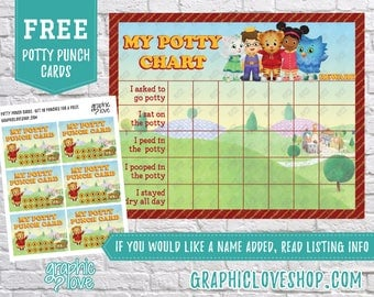 Printable Daniel Tiger Potty Chart, FREE Punch Cards | Digital JPG File, Instant download