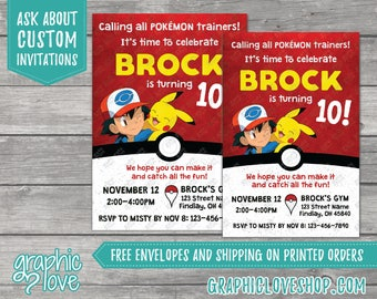 Pokemon Inspired Personalized Birthday Invitations | Any Age, 4x6 or 5x7, Digital File or Printed