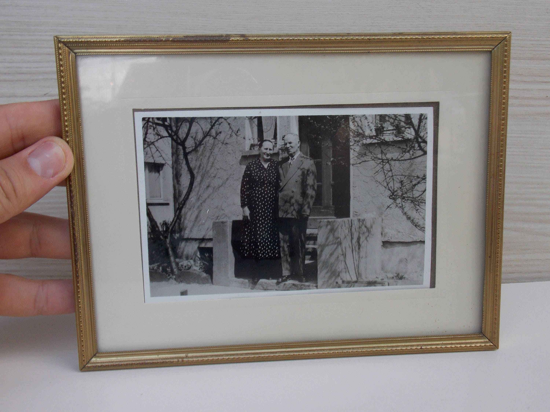 Tamaño mediano de antiguo marco de metal marco madera vintage