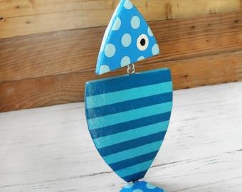 Blue Hanging Fish, Paper Mache Fish, Handmade Blue Fish, Fish Kitchen Decor, Summer Fish Decoration, Fish Home Decor, Beach Blue Decor