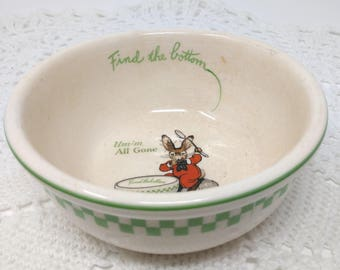 Vintage Ralston Purina Cereal Bowl, Find The Bottom, Um-m All Gone Bowl, Rabbit Bunny Bowl, Ralston Cereal Bowl, Cereal Bowl