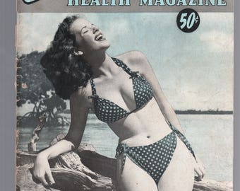 Mature Vintage Mens Girlie Pinup Magazine : Sunbathing For Health Magainze May 1957 Nude
