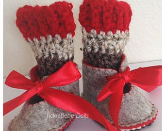 Handcrafted 100% Wool Felt Doll Shoes & Leg Warmers - Tan, Red -  Sock Monkey - Handstitched and Embroidered  - TickleBebeDolls