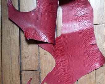 Strip of snake embossed calf leather