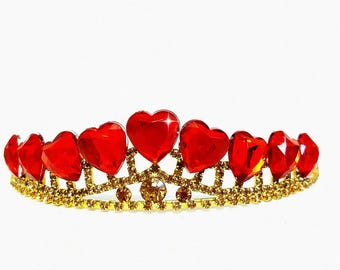 Evie Descendants 2 Crown, Disney Descendants 2 Tiara,  Red Heart Crown Descendants ,Evie costume,Evie Gold Tiara Red Heart Crown