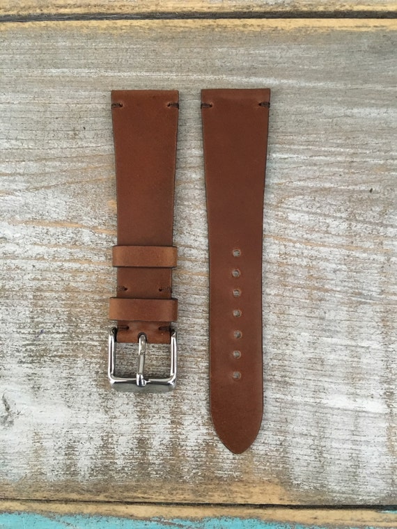 20/16mm Whiskey Horween Shell Cordovan watch band - simple side stitch