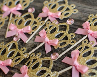 Crown cupcake toppers, princess cupcake toppers