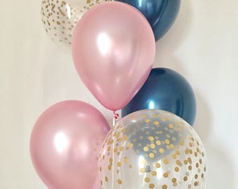 Navy Pearl Pink and Gold Confetti Latex Balloon~Wedding Balloon~Bridal Shower~Birthday~Baby Shower~Navy&Gold~Gold Confetti Look Balloon