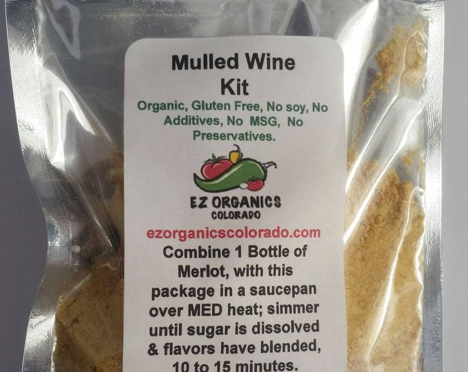 Organic Mulled Wine kit for 1 bottle merlot Warm wine on a cold night, YUM