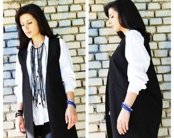 SALE Long Black Vest / Sleeveless Vest / Designer Vest  /Elegant Vest/Sleeveless Top/ Oversized Top/  by Fraktura V0003