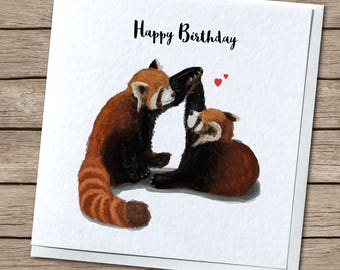 Red Panda Love Birthday/I Love You/Anniversary Greetings Card