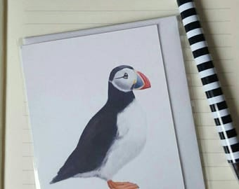 Cute Puffin Mini Greetings Card - Handmade - Happy Birthday, Thank You, Blank, Any Occasion - Tiny Card for Notes