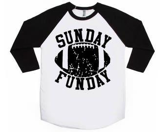 Sunday Funday Adult Raglans - Football Shirts - Grunge Football - Vintage Football Shirts - Game Day Shirts - Football Fan Shirts - Adult