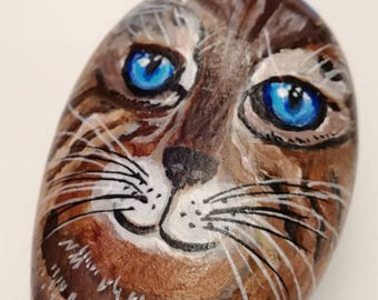 Cat - hand - painted acrylic on stone