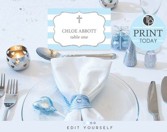 Blue Baptism Place Cards, Instant download Place Cards, Baptism Name Tent Cards, Seating Cards, Boy Baptism Place Cards, Edit yourself
