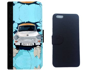 Car in Blue on Leather Wallet Case Cover for iPhone 7/7+, 6/6 plus, 5/5s, 4/4s and Galaxy Note 5,4,3,2,Galaxy S7,S6,S5,S4 Cellphone Cover