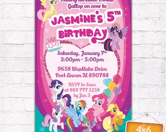 My Little Pony Invitation with Photo MLP Themed Birthday Party Invite Card Customized Digital File