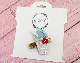 Red, White & Blue Sno-ball Hair Clip, Ready to Ship!!