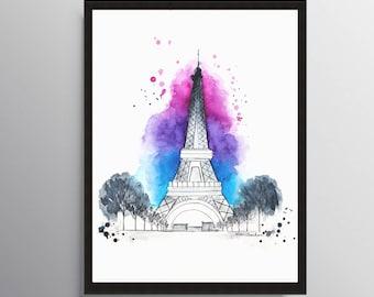 Paris Print, Eiffel Tower, Watercolor painting, Paris Illustration, Art Print, Travel art, Gift Ideas, City art, City Poster, Paris poster