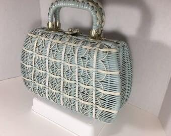 Blue and White Plastic Wicker 1960s Vintage Handbag