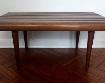 Mid Century Modern Walnut Slat Bench/Table