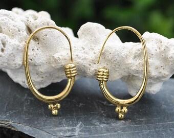 Long Thick Hoops Brass earrings, Chunky hoops, Steampunk earrings, Golden bubbles hoop, African jewelry