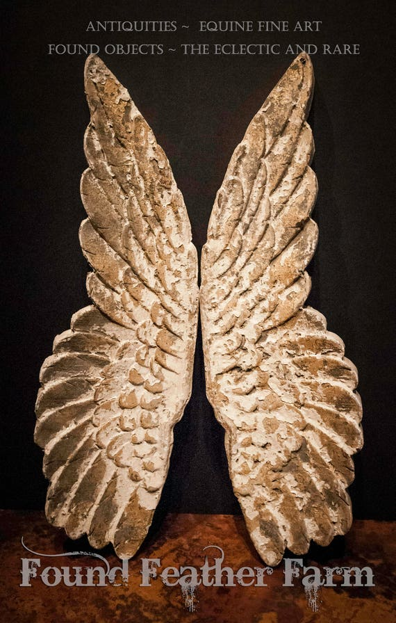 Pair of Wooden Hand Painted Angel Wings with a Textured Gold Leaf Finish