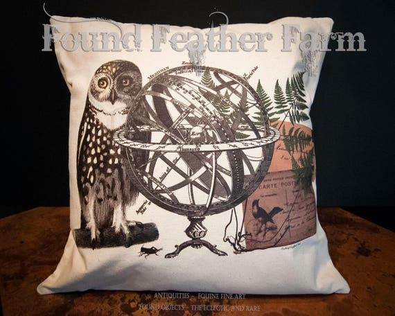 """18"""" x 18"""" Canvas Throw Pillow """"The Meridian Owl"""" Original Design with Feather Down Insert"""