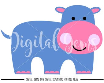 Hippo svg / dxf / eps / png files. Digital download. Compatible with Cricut and Silhouette machines. Small commercial use ok.