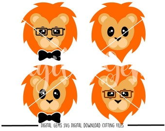 Lion faces svg / dxf / eps / png files. Digital download. Compatible with Cricut and Silhouette machines. Small commercial use ok.