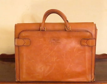 Rolla 1975 Collection Leathergoods Briefcase Tote Carryall in Buttery Tan Leather - VGC