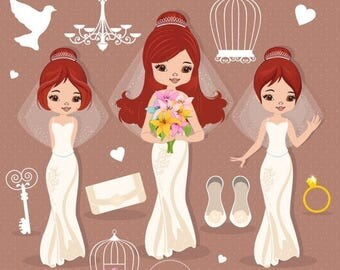 80% OFF SALE Bride clipart, Wedding clipart, Groom clipart, Wedding graphics, Wedding party, Clip art - CA432