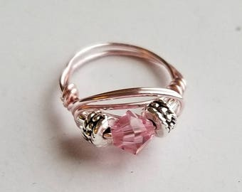 Pink Wire Wrapped Ring