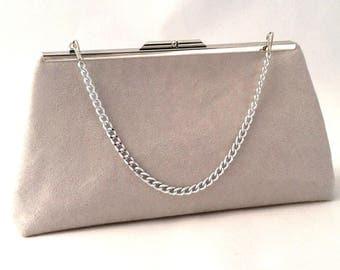 Grey Suede Handbag Clutch Purse ~ Gray Suede Handbag Clutch Purse Handbag ~ Ready to Ship