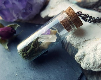 Vial necklace, oddity specimen corked glass test tube bone curiosity crystal amethyst moss terrarium pendant cork chain small