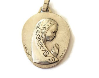 vintage christian medal by Cardot, french mid century medal, french religious jewelry