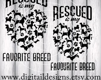 Rescue Dog SVG - dxf - png - eps - ai - fcm - Cricut - Silhouette - Shelter Dog SVG - Dog Adoption SVG - Rescue is My Favorite / Favourite