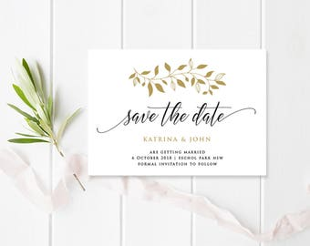 Wedding Save the Date Card, Digital Printable or Professionally Printed, Black and Gold, Katrina Suite