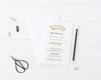 Printable Wedding Invitation, Black and Gold Invites, Rustic, Free Colour Changes, Digital File or Professionally Printed, Katrina Suite