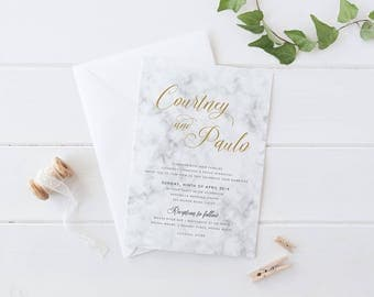 Gold Marble Wedding Invitation Suite, Printable Digital File or Professionally Printed, Gold Invites, Peach Perfect, Golden Marble
