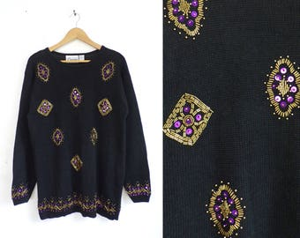 80s sequin beaded sweater black bead sweater knit ramie cotton pullover crew neck sweater metallic gold purple womens jumper medium
