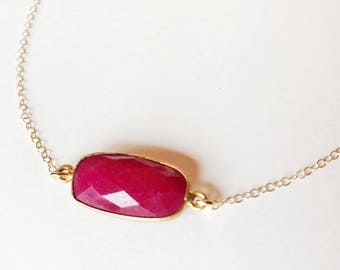 La Viva Necklace - Pink Stone Necklace - Bridal Shower Gift - Birthday Gift - Festival Jewelry - Gold Necklace