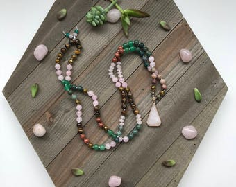 Self Love 108 Gemstone Beaded Mala Pendant Necklace Featuring: Rose Quartz, Aventurine, Fancy Jasper, Tigers Eye, Goldstone
