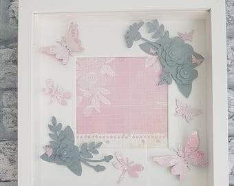 Flowers & Butterflies Framed Art Gift