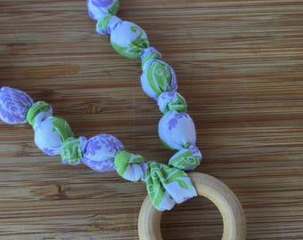 Nursing necklace // teething necklace // purple floral