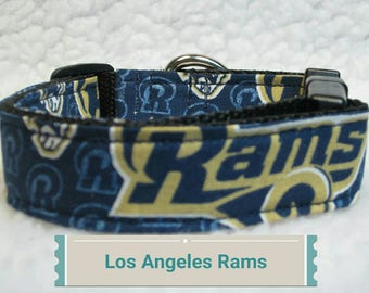 """Los Angeles Rams Dog Collar, 1"""" & 1.5"""" Inches Wide, Large Dog  Collar, Small Dog Collar, Dog Collars, Side Release Dog Collar"""
