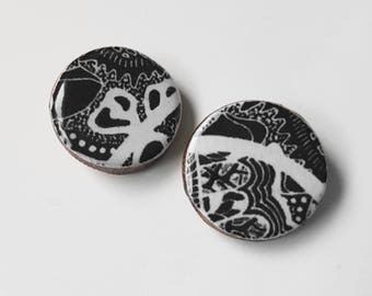 """18mm studs – """"Monochrome"""" (wearable art, eco wood, abstract)"""