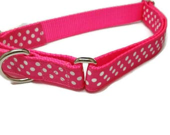 Pink & White Polka Dots Large Martingale Collar - SUMMER SALE
